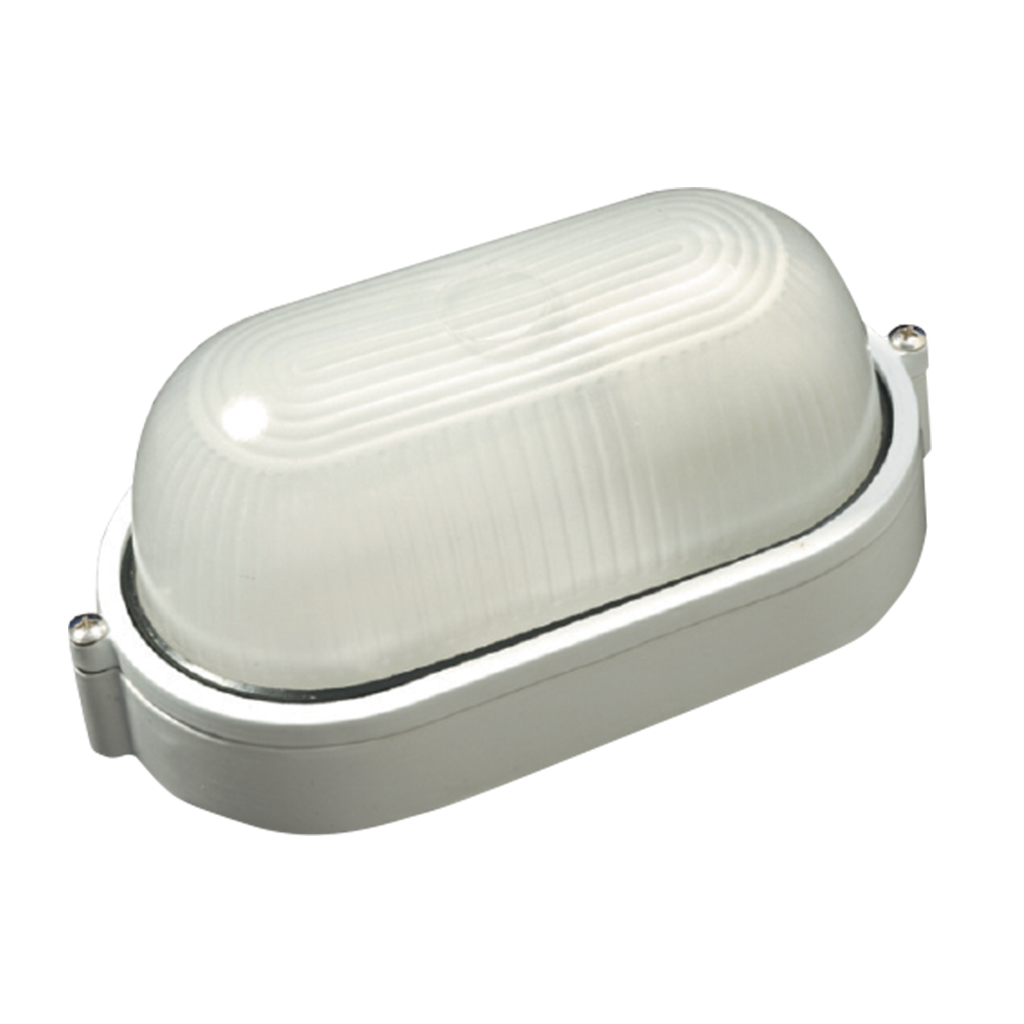 BULKHEAD 1LT E27 SMALL OVAL PLAIN WHITE GTL234