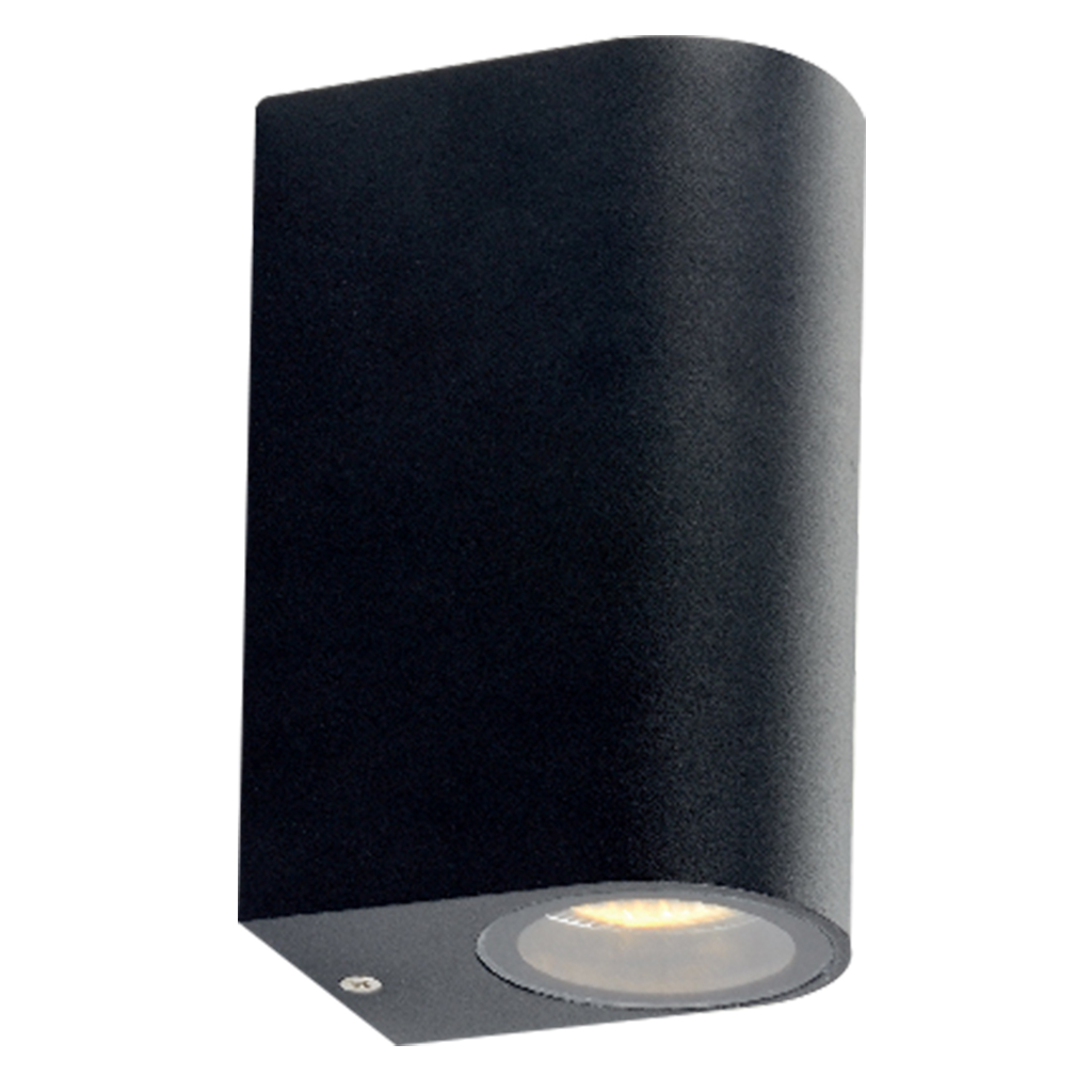 WALL FITTING 2LT 35W GU10 ARCH MATT BLACK GTL601