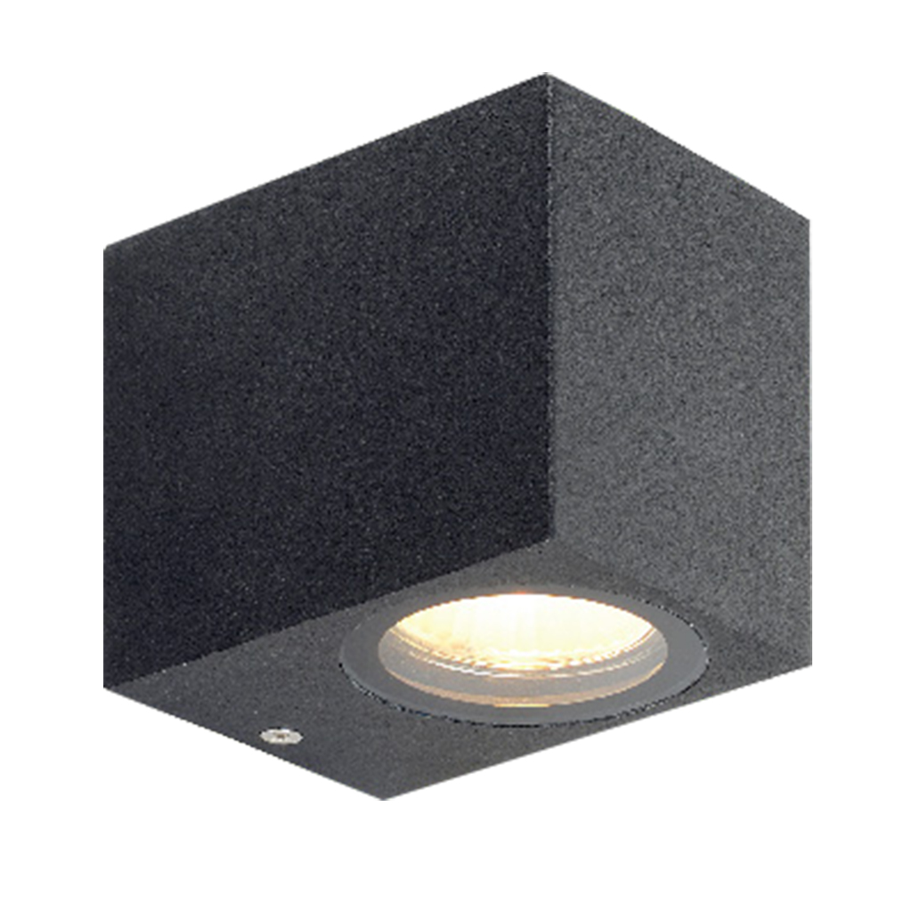 WALL FITTING 1LT 35W GU10 SQUARE MATT BLACK GTL604