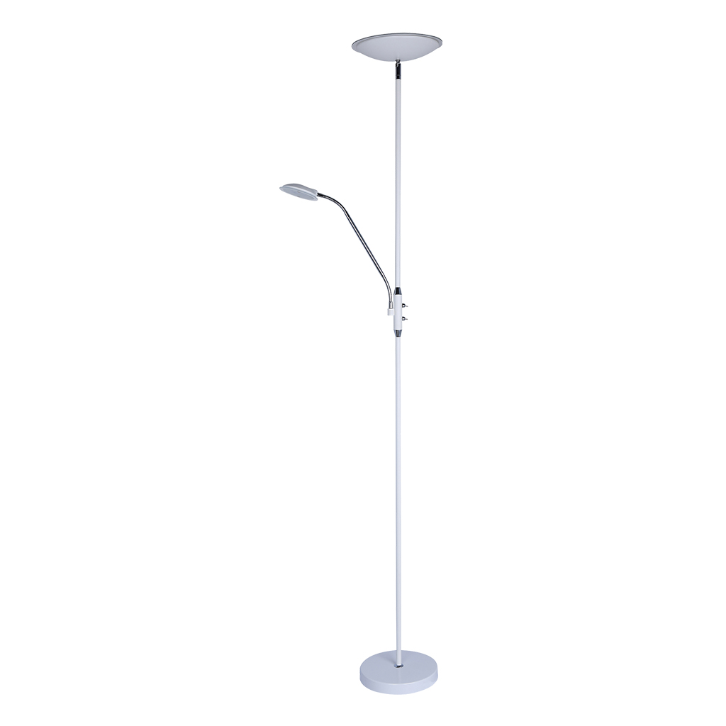 FLOORLAMP LED 18W UPLIGHT/5W STUDY 3000K WHITE/CHROME  HCL102