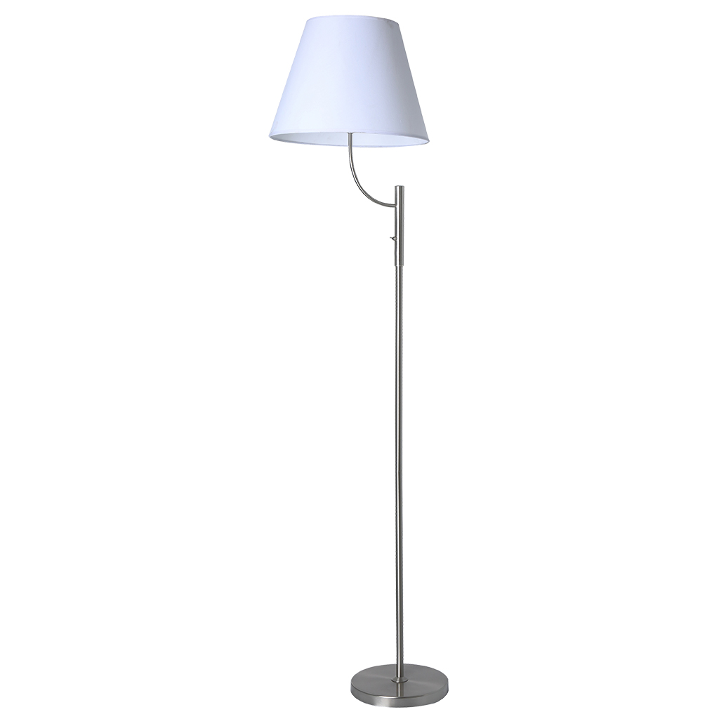 FLOORLAMP 1LT E27 SATIN CHROME/WHITE SHADE  HCL107