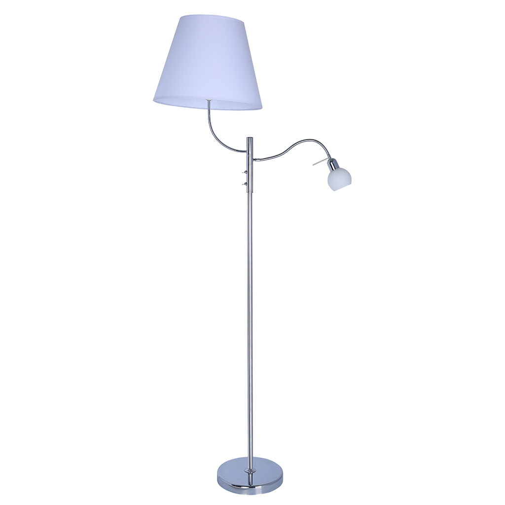 FLOORLAMP 2LT E27/40W E14 SATIN NICKEL/WHITE SHADE HCL108