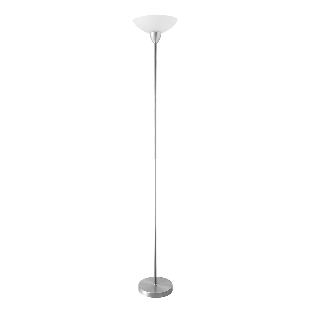 FLOORLAMP UPLIGHT 1LT E27 SATIN CHROME/WHITE SHADE HCL111