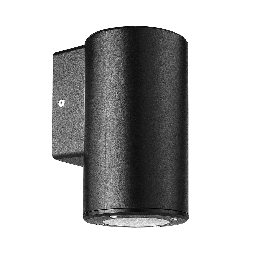 WALL FITTING 1LT GU10 ROUND TUBE IP54 BLACK