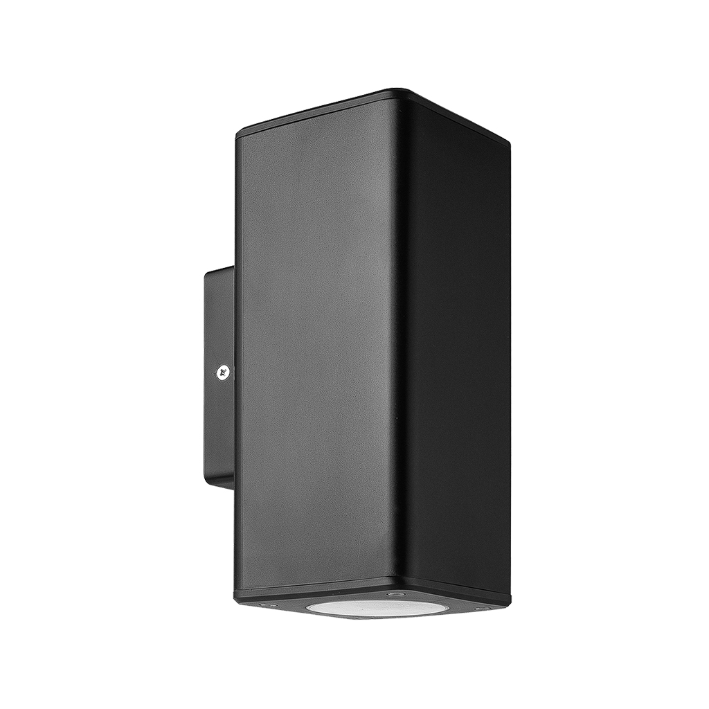 WALL FITTING 2LT GU10 SQUARE TUBE IP54 BLACK