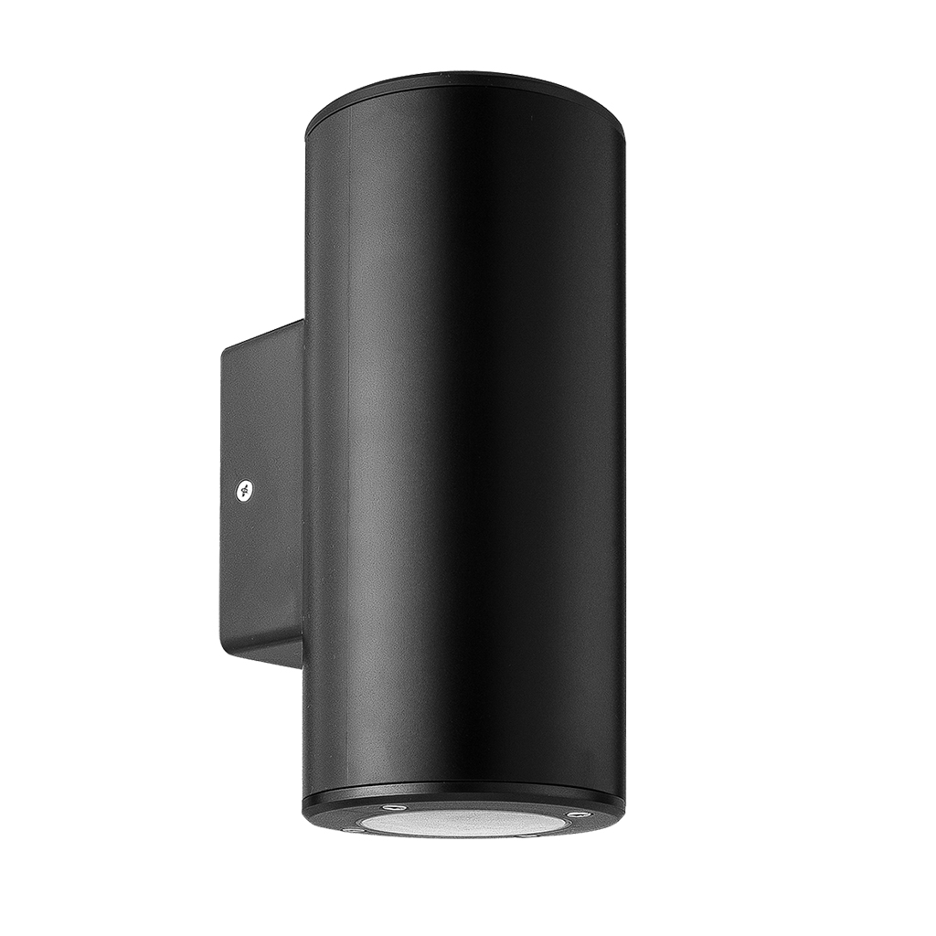 WALL FITTING 2LT GU10 ROUND TUBE IP54 BLACK