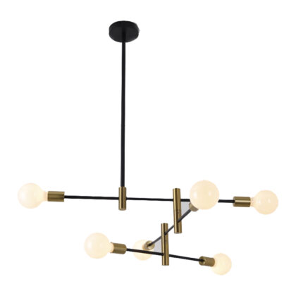 PENDANT FITTING E27 METAL 6LT BLK ZCL909/6